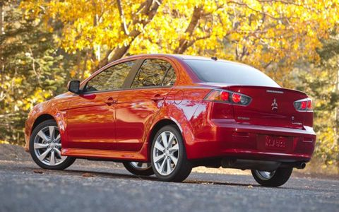 The 2013 Mitsubishi Lancer GT is equipped with the 2.4-liter I4, and is mated with the optional five-speed manual gearbox.