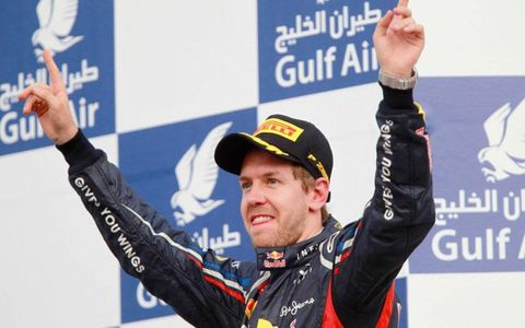 Sebastian Vettel celebrates his first win of the Formula One season.