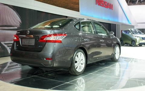 A rear view of the Nissan Sylphy sedan shown at the Beijing motor show. It previews the redesigned 2013 Nissan Sentra.