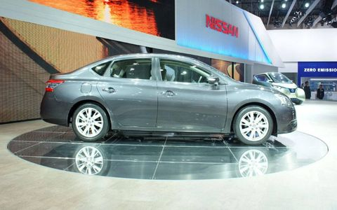 A side view of the Nissan Sylphy sedan shown at the Beijing motor show. It previews the redesigned 2013 Nissan Sentra.