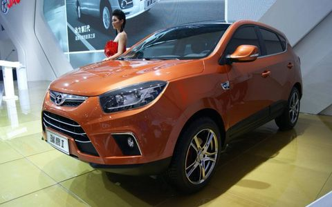 A front view of the JAC SII at the Beijing motor show.