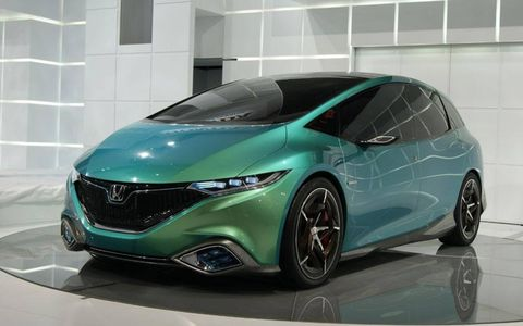 A front view of the Honda Concept S at the Beijing motor show.
