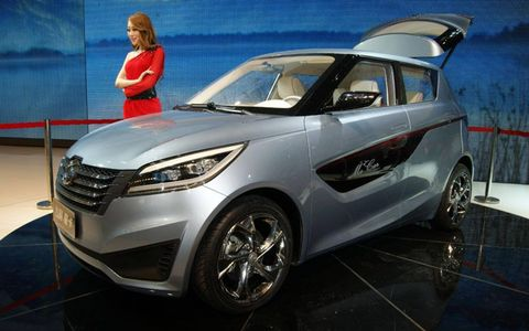 A front view of the Geely McCar at the Beijing motor show.