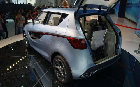 A rear view of the Geely McCar at the Beijing motor show.