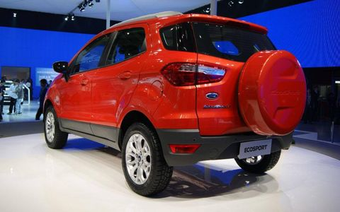 A rear view of the Ford EcoSport at the Beijing motor show.
