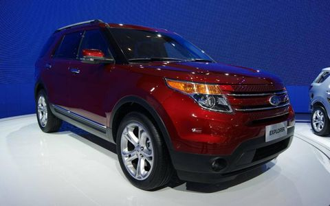 A front view of the Ford Explorer at the Beijing motor show.