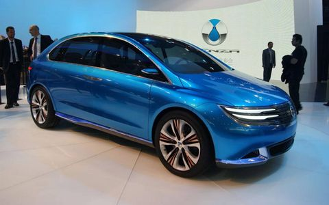 A rear view of the Denza EV concept at the Beijing motor show.