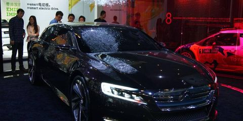 A front view of the Citroën Numero 9 concept at the Beijing motor show.