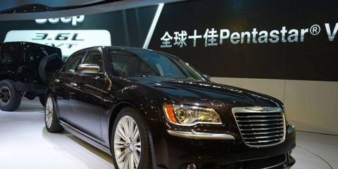 A front view of the Chrysler 300 Ruyi concept at the Beijing motor show.