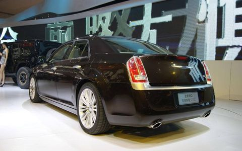 A rear view of the Chrysler 300 Ruyi concept at the Beijing motor show.