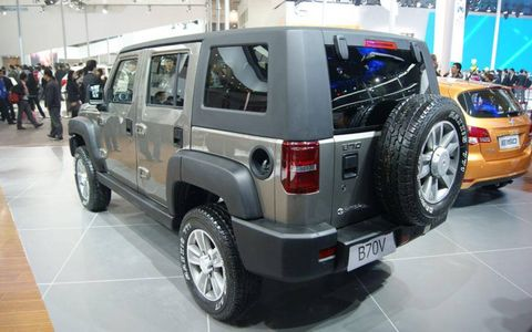 A rear view of the BAIC B70 at the Beijing motor show.