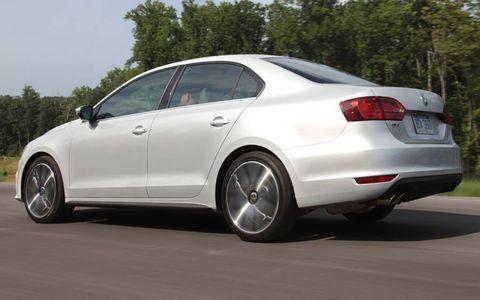 A rear view of the 2012 Volkswagen Jetta GLI.