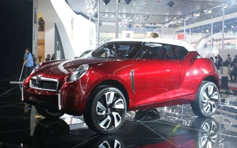 A front profile view of the MG Icon concept at the Beijing motor show.