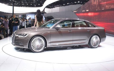 A side view of the Audi A6 E-tron at the Beijing motor show.
