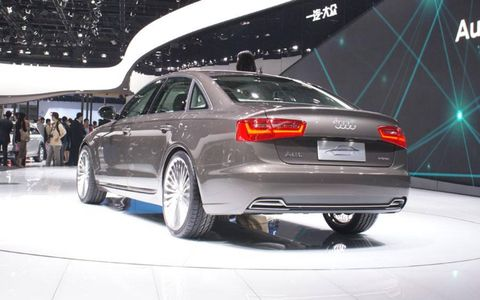 A rear view of the Audi A6 E-tron at the Beijing motor show.