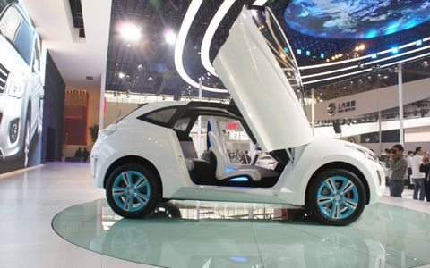 The Great Wall Haval E concept with scissor-wing doors.
