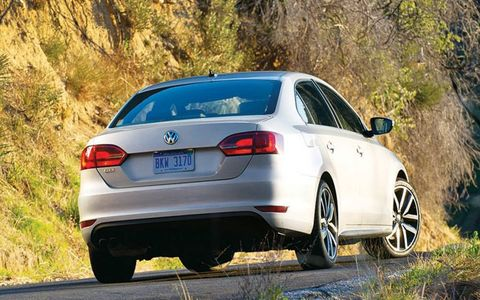 Here are some test numbers on the 2012 Volkswagen Jetta GLI sedan: 0-60 mph in 6.2 seconds, quarter-mile in 15.1 seconds at 93.3 mph and 60-0 mph in 124.8 feet.