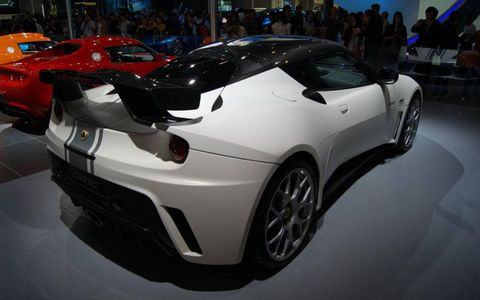 A rear view of the Lotus Evora GTE China Limited Edition at the Beijing motor show.