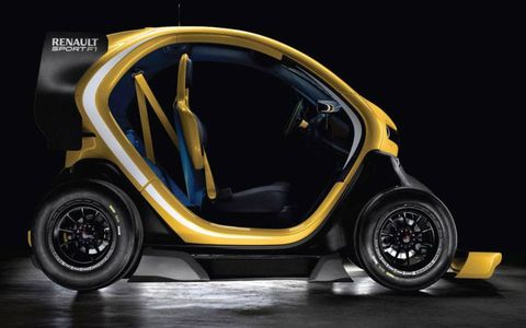 The flamboyant body can't entirely hide the Twizy city car underneath.
