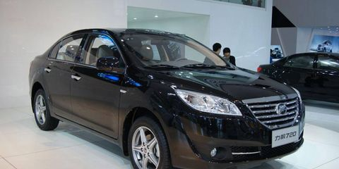 A front view of the Lifan 720 at the Beijing motor show.