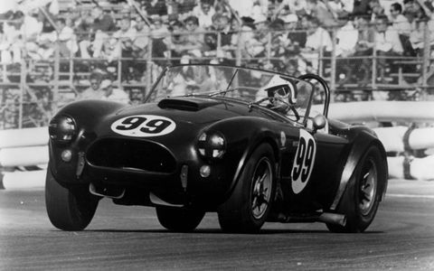 Bob Bondurant racing a 1963 Shelby Cobra.