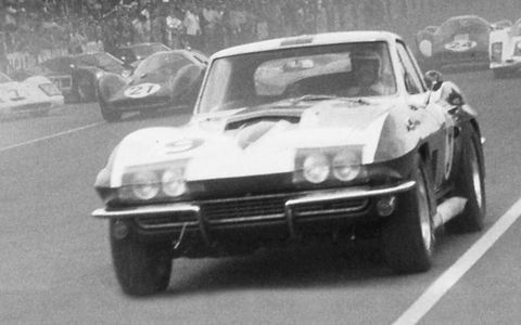 Bob Bondurant racing a 1967 Corvette.