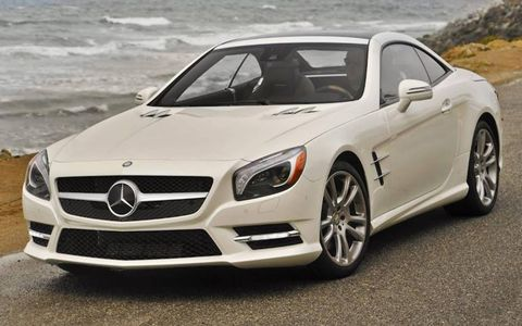 A front view of the 2013 Mercedes-Benz SL550 with the roof closed.