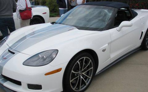 A front view of the 2013 Chevrolet Corvette 427 convertible with the 60th anniversary package.