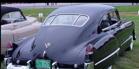The 1949 Cadillac is generally acknowledged as one of the first appearances of the tailfin on a car--introduced by General Motors styling chief Harley Earl.