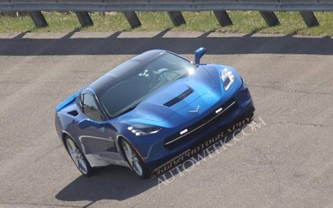 The 2014 Corvette C7 Stingray pace car testing at GM's Milford Proving grounds.