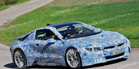 A front view of the 2014 BMW i8.