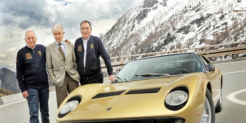 The Miura turns 50 years young this year, and its creators will help it celebrate. Left to right: Paolo Stanzani, Marcello Gandini, Gian Paolo Dallara.