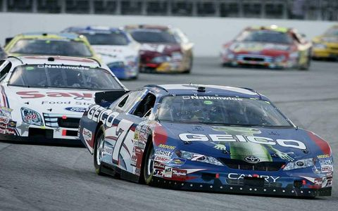 Mike Wallace leads Carl Edwards, James Buescher, Bryan Clauson and Clint Bowyer.