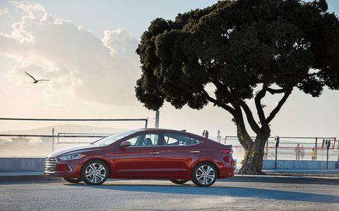 The future Elantra cuts a great profile. The top flows sharply into the deck, but not too drastically.