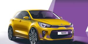 Kia has published sketches previewing the next Rio compact hatch.