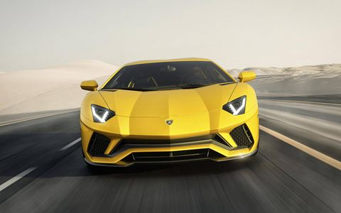 Lamborghini revised the styling for the Aventador S to increase front downforce by more than 130 percent.