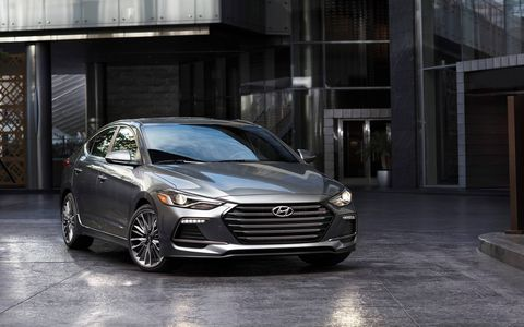 The Elantra Sport is powered by Hyundai's proven Gamma 1.6L Turbo-GDI inline four cylinder engine, which produces 201 hp at 6,000 RPM and 195 lb.-ft. of torque at 1,500~4,500 RPM—increases of 54 hp and 63 lb.-ft., respectively, over the standard naturally aspirated Elantra.