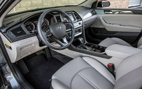 The Sonata's interior is roomy, but there are still plenty of surfaces with a plastic feel to them.