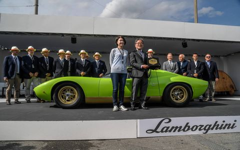 Best of Show went to this Miura SV in verde senape (mustard colored) from 1971 (car serial number # 4838), which belongs to a Japanese collector.