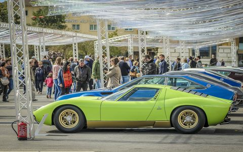 """The first """"Lamborghini & Design"""" Concours took place Sept. 17 in Neuchâtel, Switzerland. It featured 50 Lamborghinis from around the world including the Miura, Countach, Espada, LM 002, and even the Marzal, a concept designed by Marcello Gandini in 1967. Bella!"""
