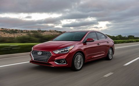 The new 2018 Hyundai Accent sedan gets fresh looks inside and out, a 1.6-liter four cylinder and the option of a six-speed manual or a six-speed auto. This time around, no five-door hatchback option will be offered in the American market.