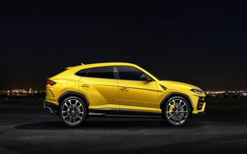 Lamborghini's new super-SUV, the 2019 Urus, packs a 641 hp 4.0-liter twin-turbocharged V8, all-wheel drive and performance features like rear-wheel steering. With a top speed of 190 mph, Lambo claims it is the world's fastest production SUV.