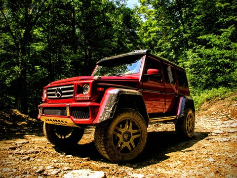 The Mercedes-Benz G-Wagen 4x4 squared gets an extra axle over the basic G550.