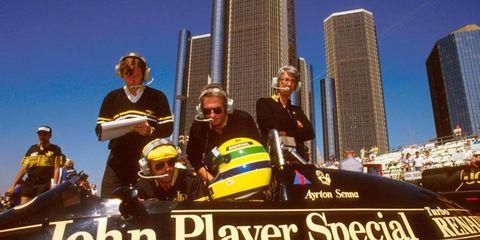 Ayrton Senna at Detroit in 1986.