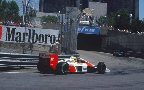 Ayrton Senna drives the streets of Detroit in 1988.