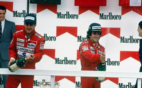 Ayrton Senna, left, and Alain Prost on the podium in Mexico City in 1988.