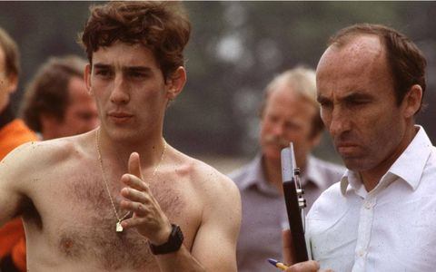 Ayrton Senna tested for the Williams-Ford Formula One team in 1983. He is shown with team owner Frank Williams. He ultimately landed a drive with the Toleman team for the 1984 season.