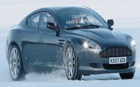 The Aston Martin Rapide undergoes winter testing.