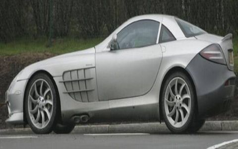 Caught in these spy photos undergoing testing on public roads prior to a planned unveiling at the Paris motor show in September, the reworked SLR is distinguished from the existing model by subtle styling changes around the front and rear ends—all aimed at improving high-speed stability and creating more efficient underbody airflow.