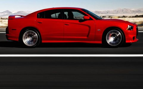 A side view of the 2012 Dodge Charger SRT.
